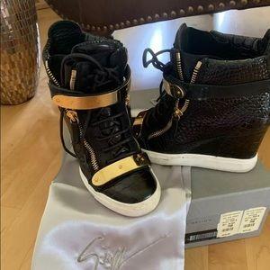 Giuseppe Zanotti Lorenz Croc Wedge Sneakers 37.5